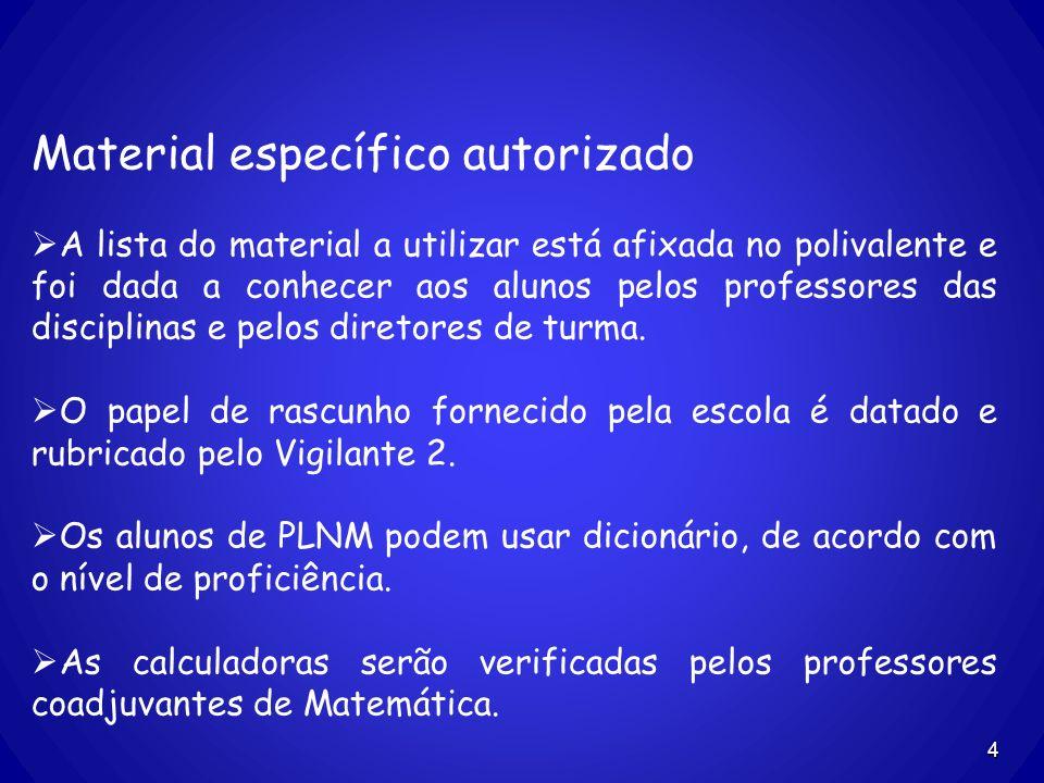 4 Material específico autorizado A lista do material a utilizar está afixada no polivalente e foi dada a conhecer aos alunos pelos professores das dis