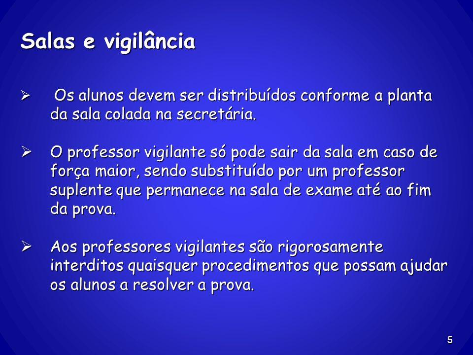 Salas e vigilância Os alunos devem ser distribuídos conforme a planta da sala colada na secretária. Os alunos devem ser distribuídos conforme a planta