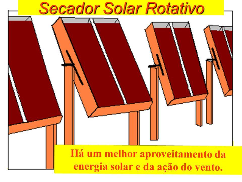 Secador Solar Rotativo Há um melhor aproveitamento da energia solar e da ação do vento.