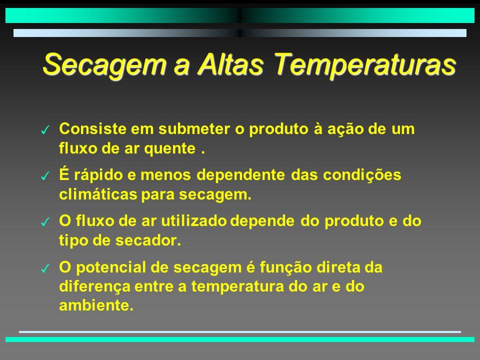 Secagem a Altas Temperaturas 3 Consiste em submeter o produto à ação de um fluxo de ar quente.