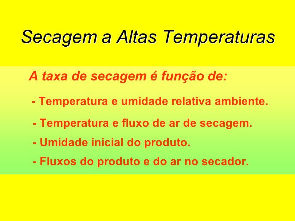 A taxa de secagem é função de: - Temperatura e umidade relativa ambiente.