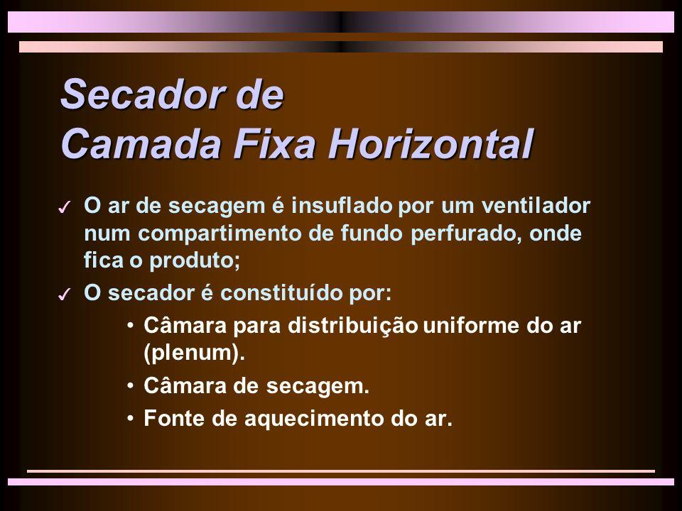 Secador de Camada Fixa Horizontal 3 O ar de secagem é insuflado por um ventilador num compartimento de fundo perfurado, onde fica o produto; 3 O secador é constituído por: Câmara para distribuição uniforme do ar (plenum).