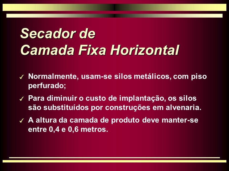Secador de Camada Fixa Horizontal 3 Normalmente, usam-se silos metálicos, com piso perfurado; 3 Para diminuir o custo de implantação, os silos são substituídos por construções em alvenaria.