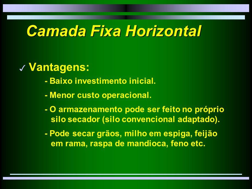 Camada Fixa Horizontal 3 Vantagens: - Baixo investimento inicial.