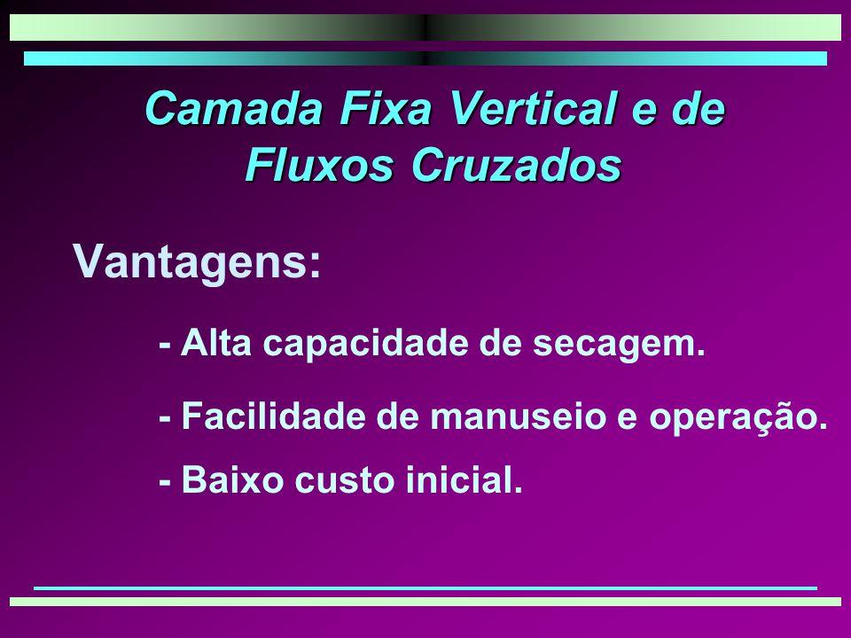 Camada Fixa Vertical e de Fluxos Cruzados Vantagens: - Alta capacidade de secagem.