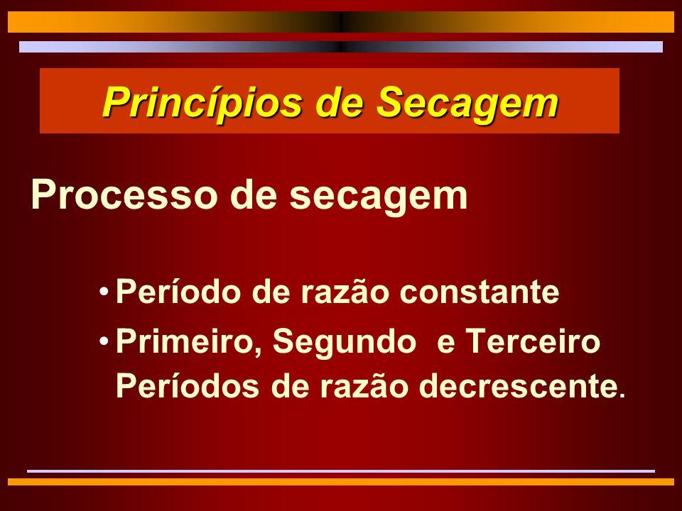Princípios de Secagem Processo de secagem Período de razão constante Primeiro, Segundo e Terceiro Períodos de razão decrescente.