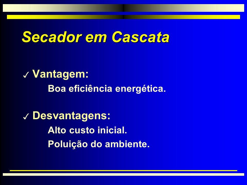Secador em Cascata 3 Vantagem: Boa eficiência energética.