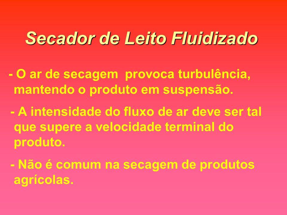 Secador de Leito Fluidizado - O ar de secagem provoca turbulência, mantendo o produto em suspensão.
