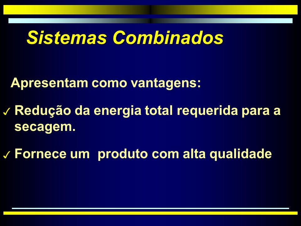 Sistemas Combinados Apresentam como vantagens: 3 Redução da energia total requerida para a secagem.