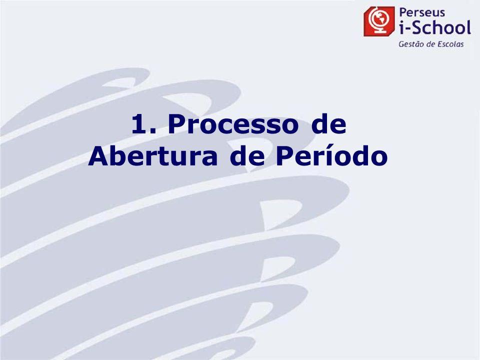 O processo de abertura de período letivo está localizado no Módulo Administração.
