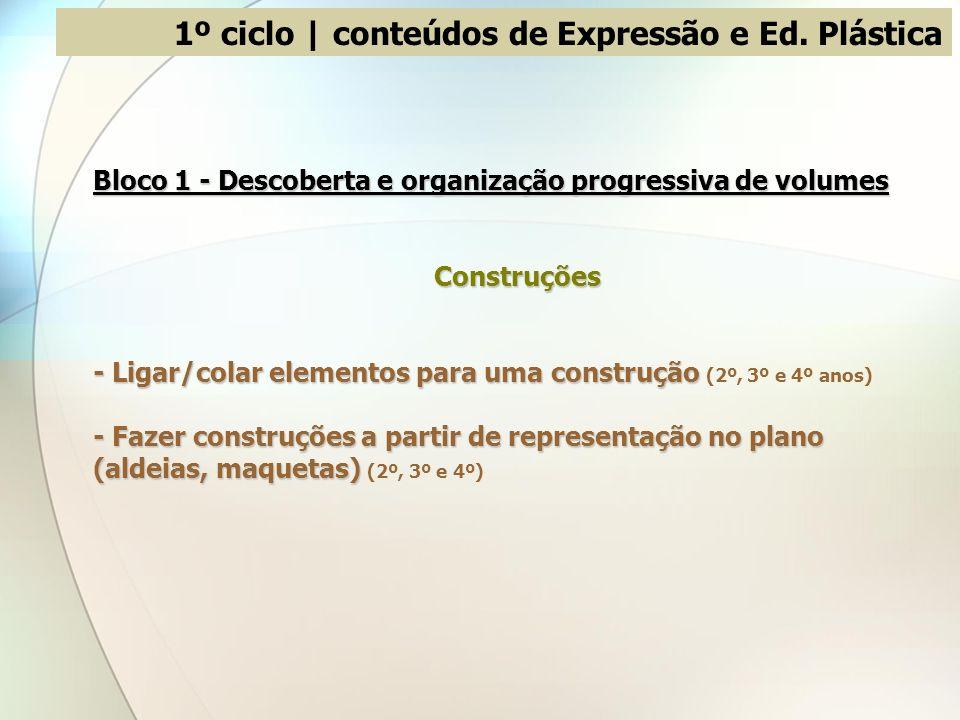 Bloco 1 - Descoberta e organização progressiva de volumes Construções - Ligar/colar elementos para uma construção - Ligar/colar elementos para uma con
