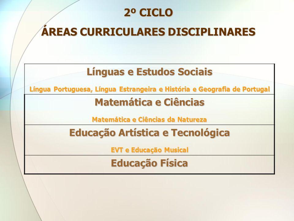 2º CICLO ÁREAS CURRICULARES DISCIPLINARES Línguas e Estudos Sociais Língua Portuguesa, Língua Estrangeira e História e Geografia de Portugal Matemátic