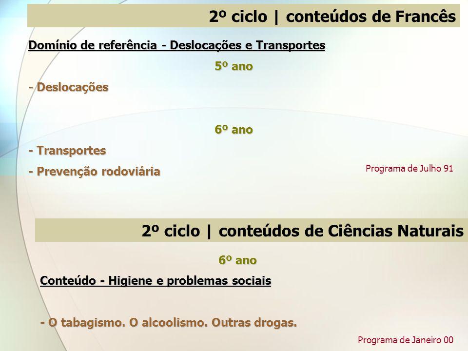 Domínio de referência - Deslocações e Transportes 5º ano - Deslocações 6º ano - Transportes - Prevenção rodoviária 2º ciclo | conteúdos de Francês Pro
