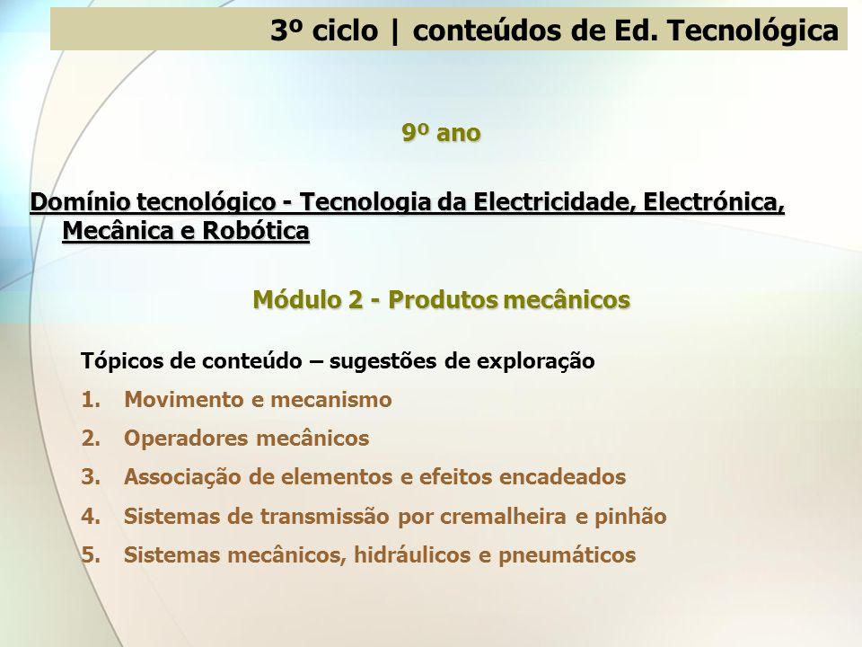 3º ciclo | conteúdos de Ed. Tecnológica 9º ano Domínio tecnológico - Tecnologia da Electricidade, Electrónica, Mecânica e Robótica Módulo 2 - Produtos