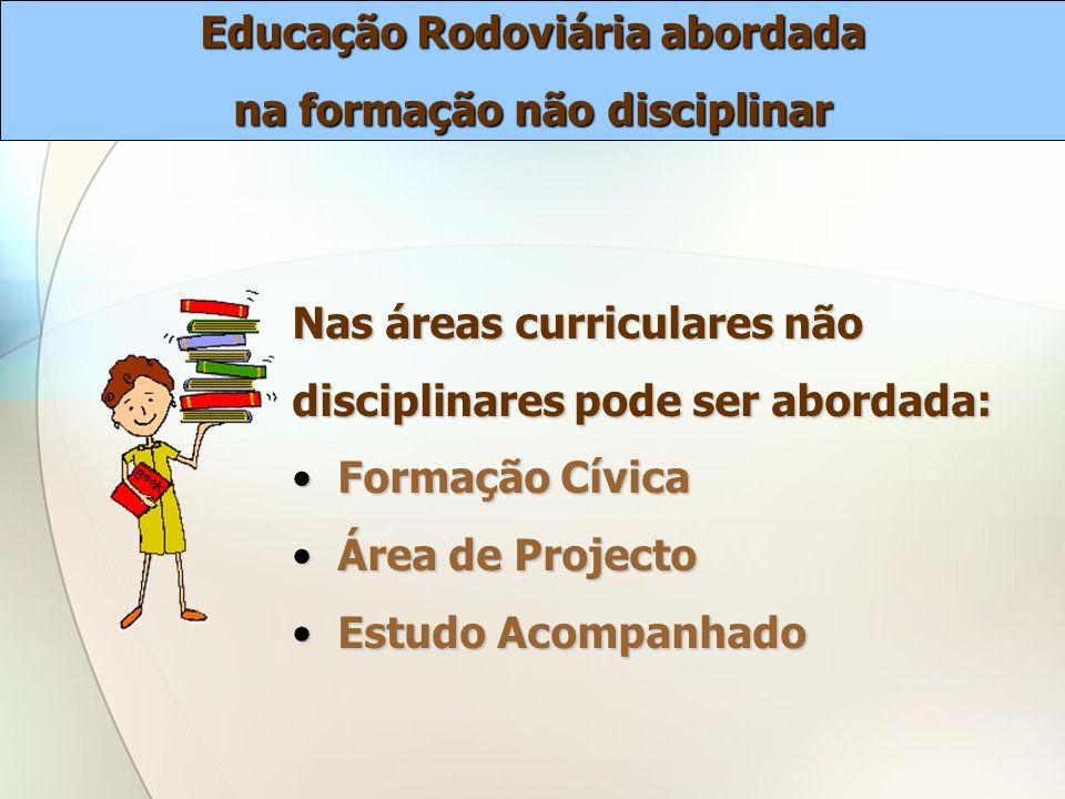 Nas áreas curriculares não disciplinares pode ser abordada: Formação Cívica Formação Cívica Área de Projecto Área de Projecto Estudo Acompanhado Estud
