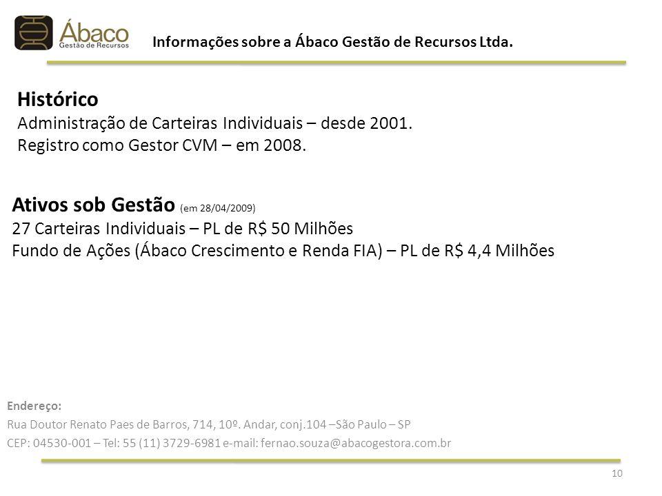Ativos sob Gestão (em 28/04/2009) 27 Carteiras Individuais – PL de R$ 50 Milhões Fundo de Ações (Ábaco Crescimento e Renda FIA) – PL de R$ 4,4 Milhões