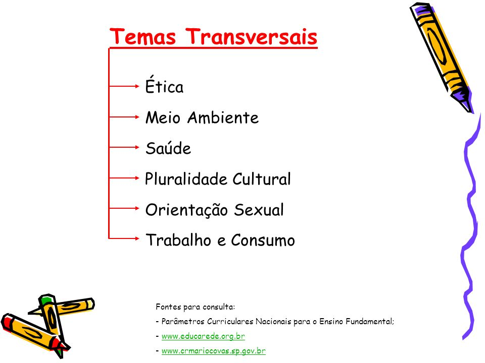 Temas Transversais Ética Meio Ambiente Saúde Pluralidade Cultural Orientação Sexual Trabalho e Consumo Fontes para consulta: - Parâmetros Curriculares