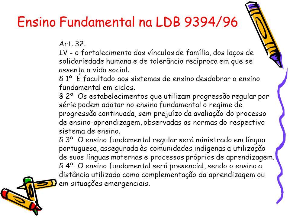 Ensino Fundamental na LDB 9394/96 Art. 32. IV - o fortalecimento dos vínculos de família, dos laços de solidariedade humana e de tolerância recíproca
