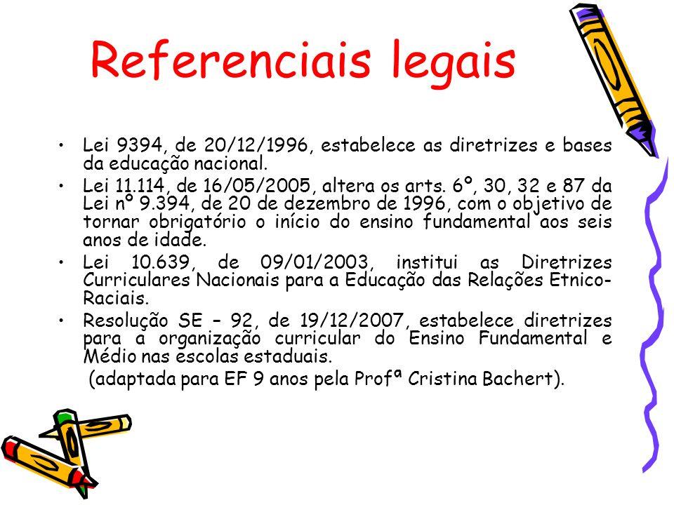 Referenciais legais Lei 9394, de 20/12/1996, estabelece as diretrizes e bases da educação nacional. Lei 11.114, de 16/05/2005, altera os arts. 6º, 30,