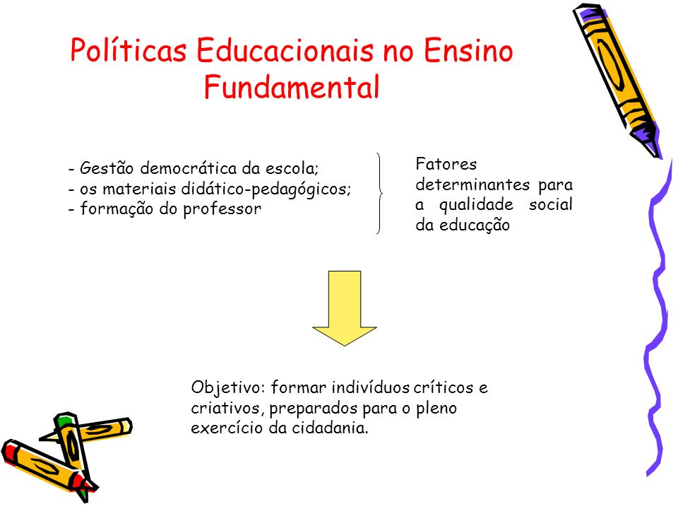 Políticas Educacionais no Ensino Fundamental - Gestão democrática da escola; - os materiais didático-pedagógicos; - formação do professor Fatores determinantes para a qualidade social da educação Objetivo: formar indivíduos críticos e criativos, preparados para o pleno exercício da cidadania.