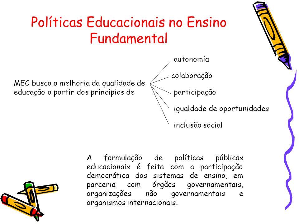 Políticas Educacionais no Ensino Fundamental MEC busca a melhoria da qualidade de educação a partir dos princípios de autonomia colaboração participaç
