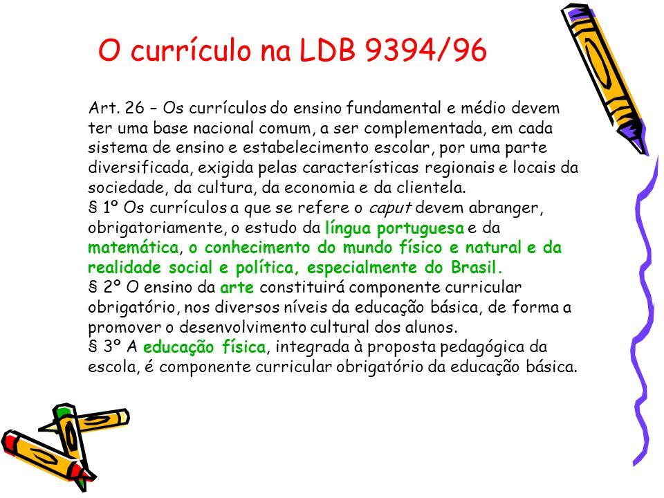 O currículo na LDB 9394/96 Art. 26 – Os currículos do ensino fundamental e médio devem ter uma base nacional comum, a ser complementada, em cada siste