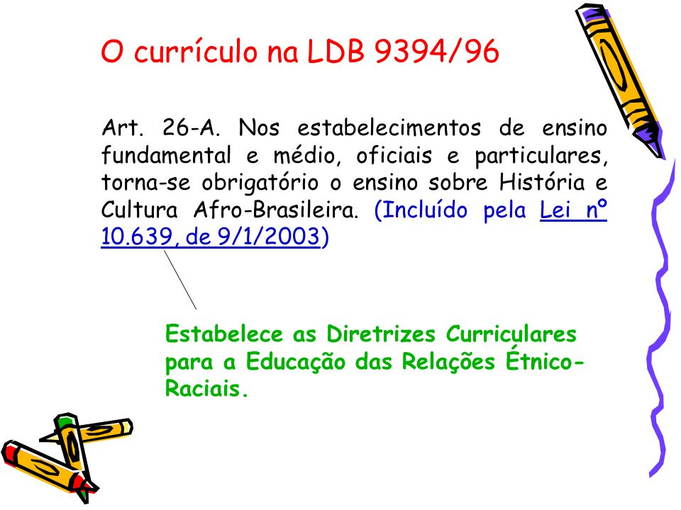 O currículo na LDB 9394/96 Art. 26-A. Nos estabelecimentos de ensino fundamental e médio, oficiais e particulares, torna-se obrigatório o ensino sobre