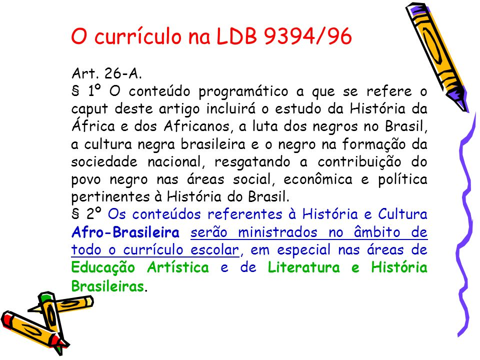 O currículo na LDB 9394/96 Art.27.