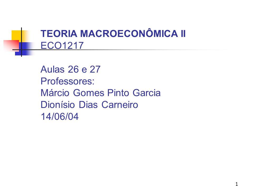 1 TEORIA MACROECONÔMICA II ECO1217 Aulas 26 e 27 Professores: Márcio Gomes Pinto Garcia Dionísio Dias Carneiro 14/06/04