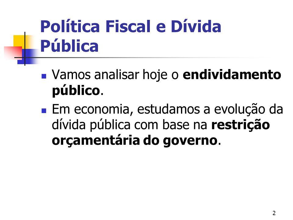 2 Política Fiscal e Dívida Pública Vamos analisar hoje o endividamento público.