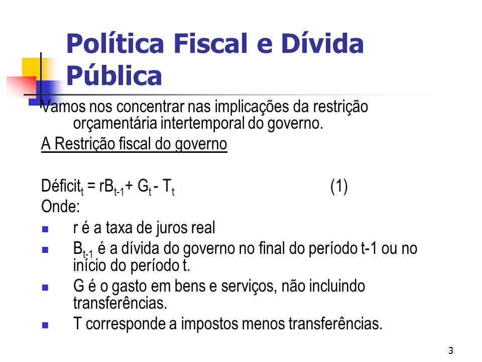 3 Vamos nos concentrar nas implicações da restrição orçamentária intertemporal do governo.
