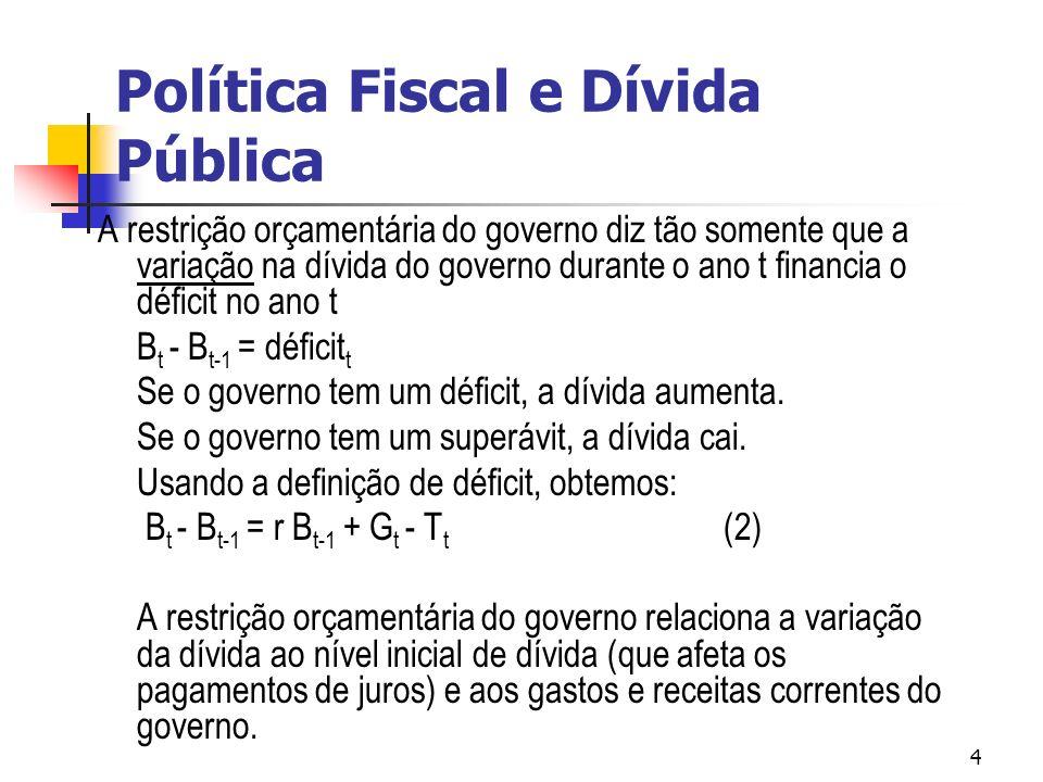 4 A restrição orçamentária do governo diz tão somente que a variação na dívida do governo durante o ano t financia o déficit no ano t B t - B t-1 = déficit t Se o governo tem um déficit, a dívida aumenta.