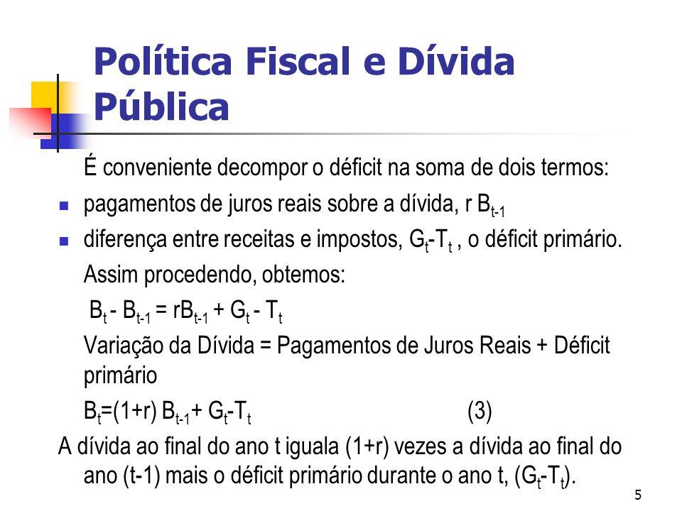 5 É conveniente decompor o déficit na soma de dois termos: pagamentos de juros reais sobre a dívida, r B t-1 diferença entre receitas e impostos, G t -T t, o déficit primário.