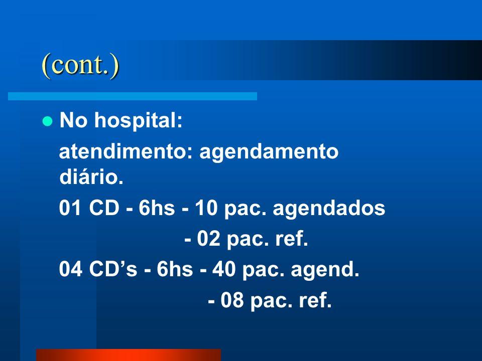 (cont.) No hospital: atendimento: agendamento diário. 01 CD - 6hs - 10 pac. agendados - 02 pac. ref. 04 CDs - 6hs - 40 pac. agend. - 08 pac. ref.