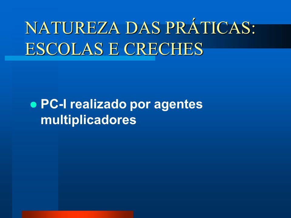 NATUREZA DAS PRÁTICAS: ESCOLAS E CRECHES PC-I realizado por agentes multiplicadores