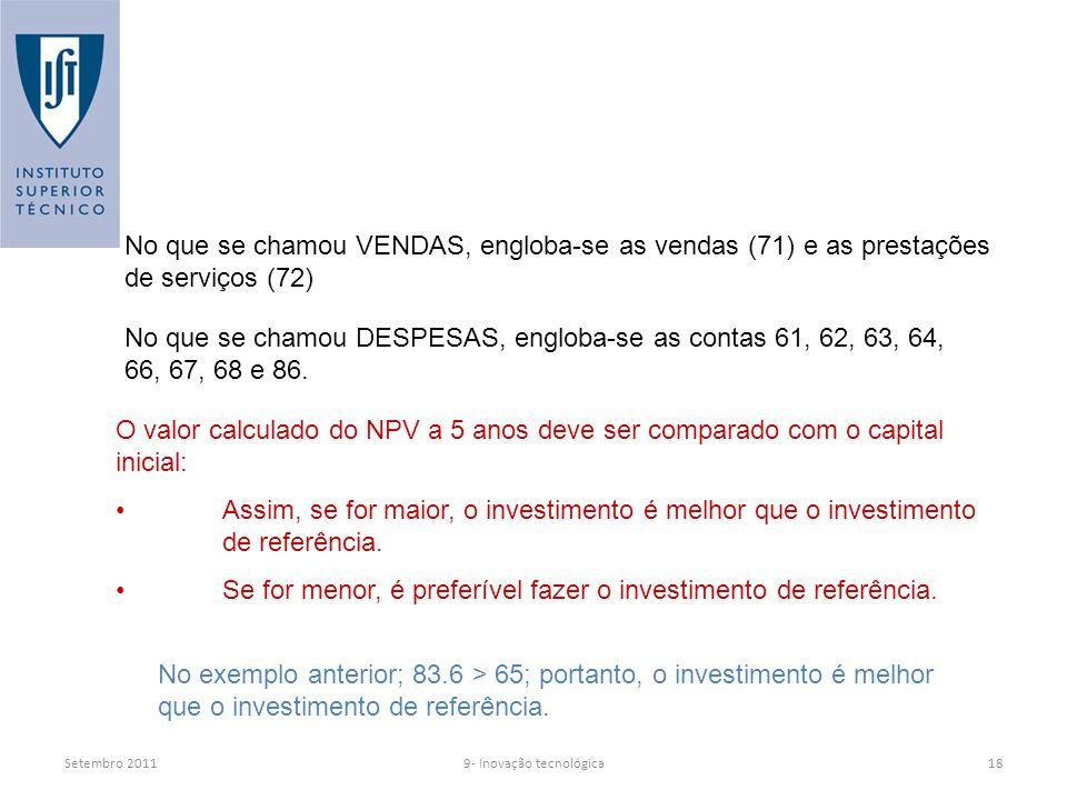 Setembro 2011 No que se chamou VENDAS, engloba-se as vendas (71) e as prestações de serviços (72) No que se chamou DESPESAS, engloba-se as contas 61, 62, 63, 64, 66, 67, 68 e 86.