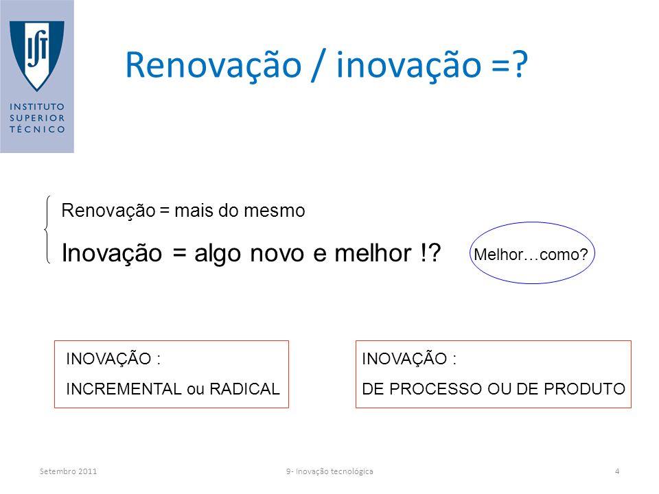 Setembro 20119- Inovação tecnológica4 Renovação / inovação =.