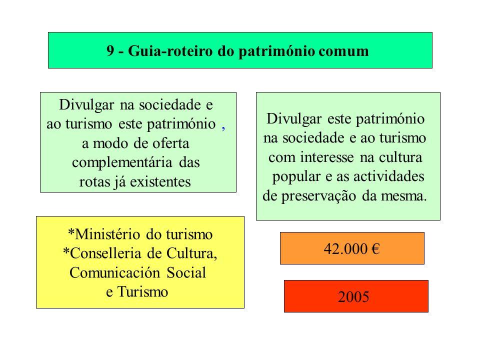 9 - Guia-roteiro do património comum Divulgar na sociedade e ao turismo este património, a modo de oferta complementária das rotas já existentes Divul