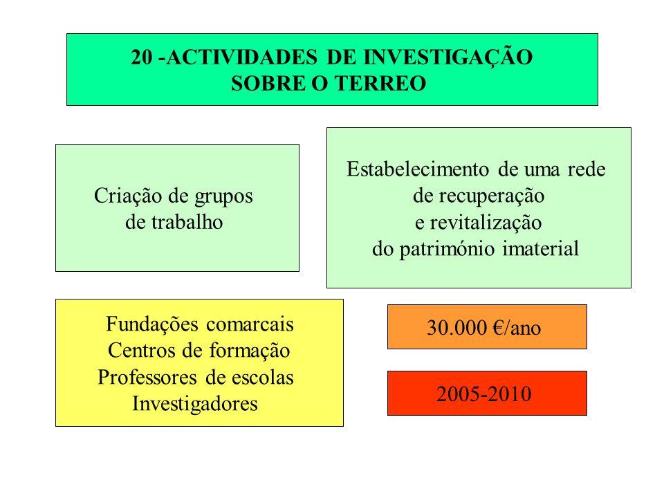 20 -ACTIVIDADES DE INVESTIGAÇÃO SOBRE O TERREO Criação de grupos de trabalho Estabelecimento de uma rede de recuperação e revitalização do património imaterial Fundações comarcais Centros de formação Professores de escolas Investigadores 30.000 /ano 2005-2010