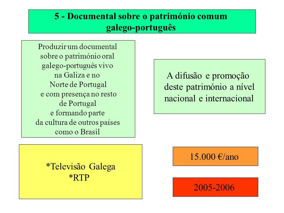 5 - Documental sobre o património comum galego-português Produzir um documental sobre o património oral galego-português vivo na Galiza e no Norte de