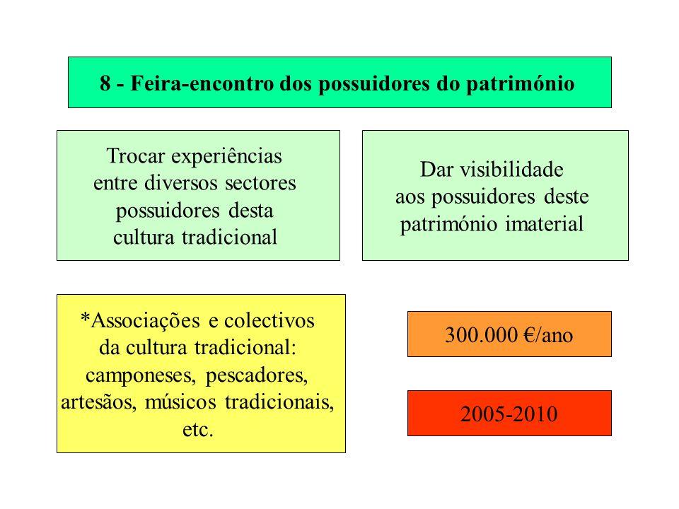 8 - Feira-encontro dos possuidores do património Trocar experiências entre diversos sectores possuidores desta cultura tradicional Dar visibilidade ao