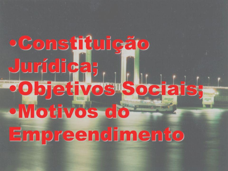 Constituição Jurídica;Constituição Jurídica; Objetivos Sociais;Objetivos Sociais; Motivos do EmpreendimentoMotivos do Empreendimento