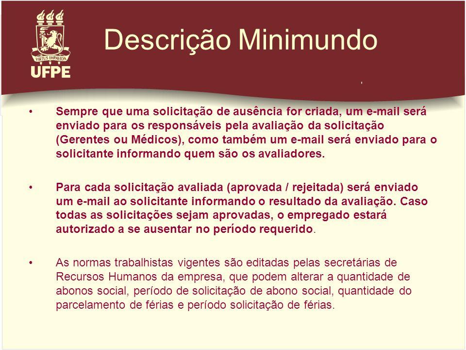 Descrição Minimundo Sempre que uma solicitação de ausência for criada, um e-mail será enviado para os responsáveis pela avaliação da solicitação (Gere