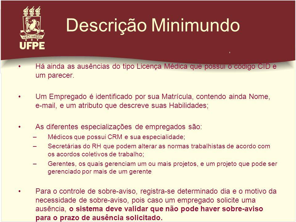 Descrição Minimundo Há ainda as ausências do tipo Licença Médica que possui o código CID e um parecer. Um Empregado é identificado por sua Matrícula,