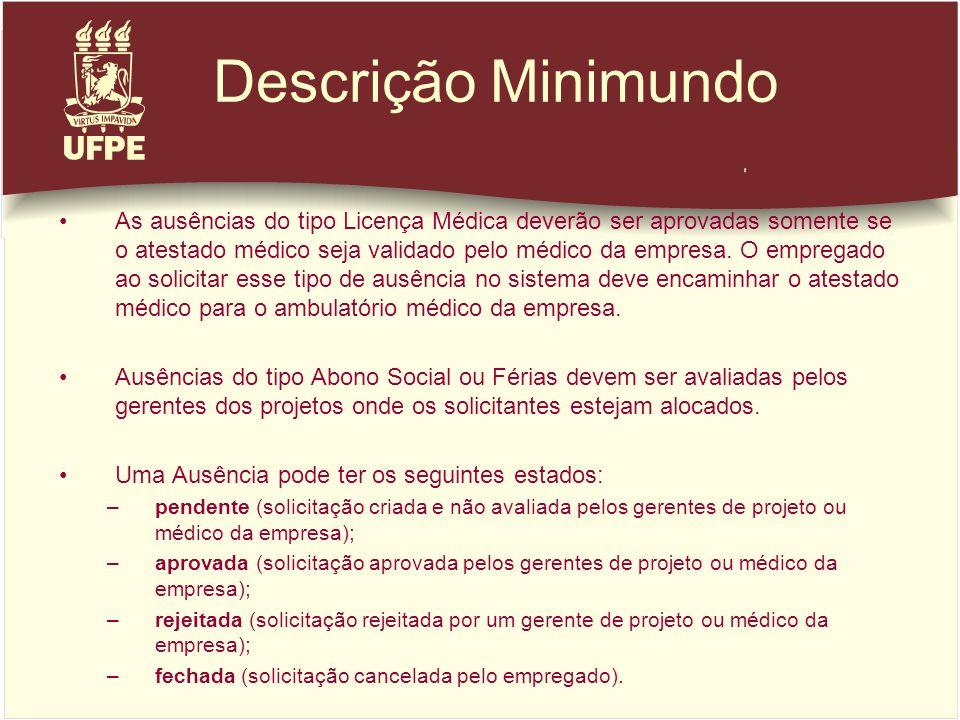 Descrição Minimundo As ausências do tipo Licença Médica deverão ser aprovadas somente se o atestado médico seja validado pelo médico da empresa. O emp