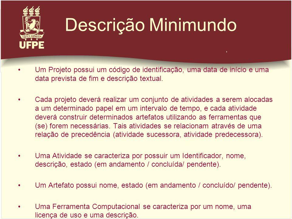 Descrição Minimundo Um Projeto possui um código de identificação, uma data de início e uma data prevista de fim e descrição textual. Cada projeto deve