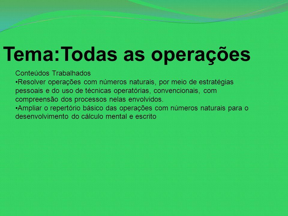 Tema:Todas as operações Conteúdos Trabalhados Resolver operações com números naturais, por meio de estratégias pessoais e do uso de técnicas operatóri