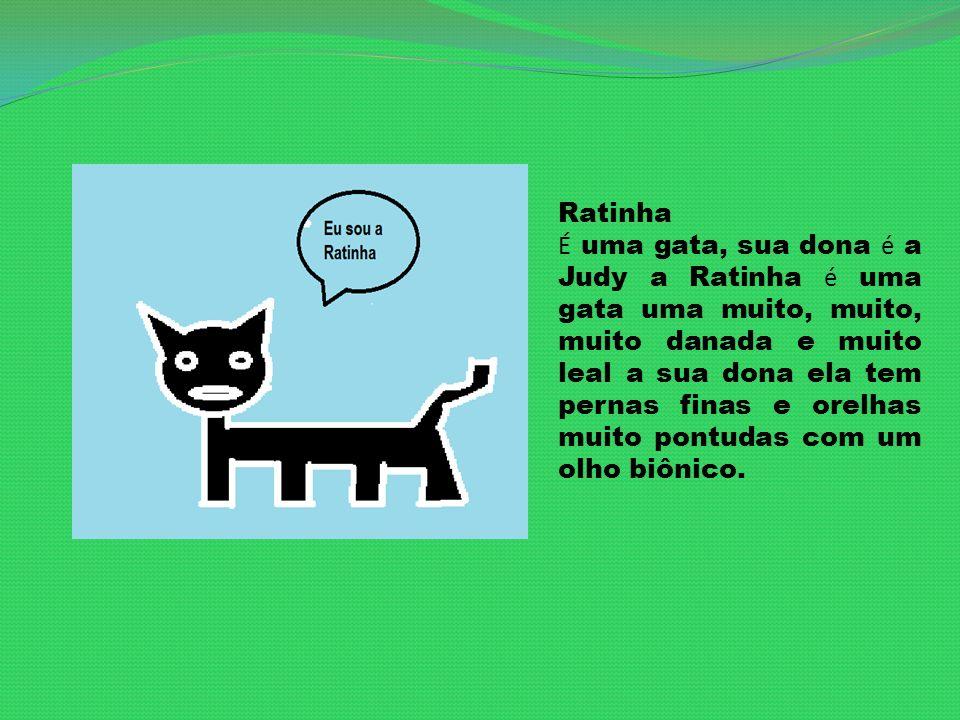 Ratinha É uma gata, sua dona é a Judy a Ratinha é uma gata uma muito, muito, muito danada e muito leal a sua dona ela tem pernas finas e orelhas muito pontudas com um olho biônico.