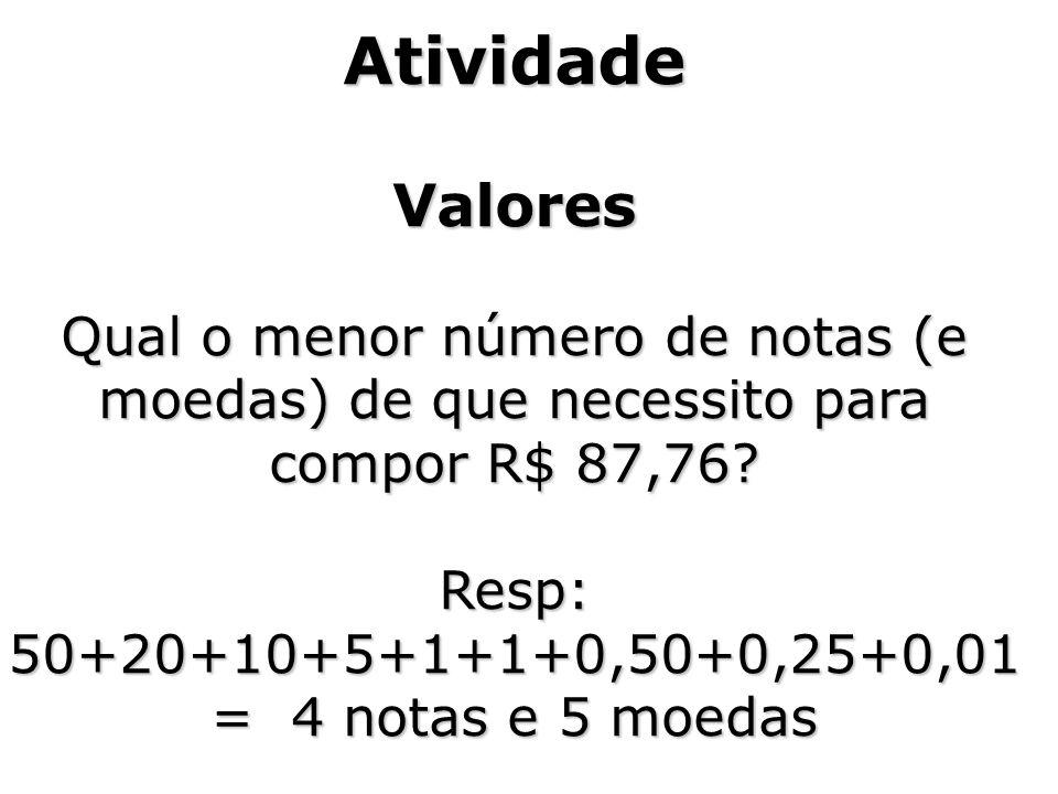 AtividadeValores Qual o menor número de notas (e moedas) de que necessito para compor R$ 87,76?