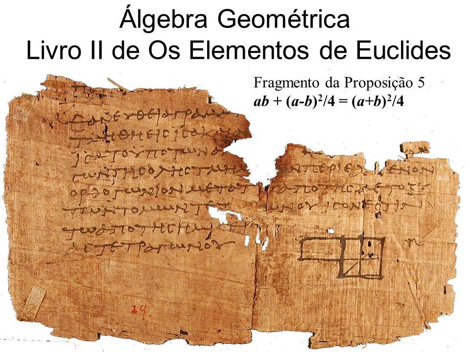 Álgebra Geométrica Típica da Grécia Antiga Assunto do Livro II de Os Elementos de Euclides Um número é representado por um segmento de reta
